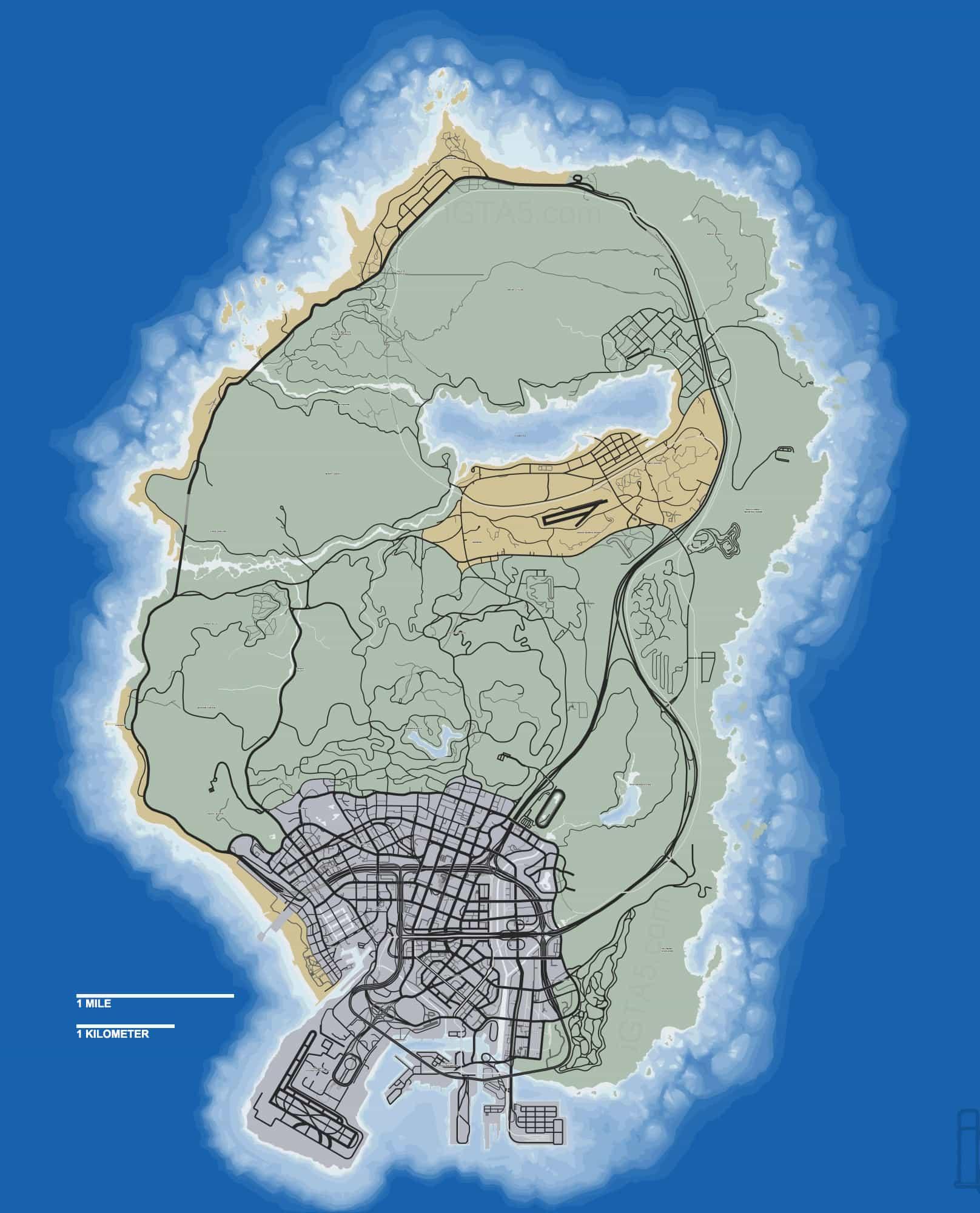 Fan Creates Gta V Map With The Correct Scale Gta Boom