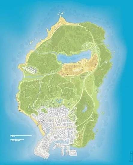 GTA V map scale