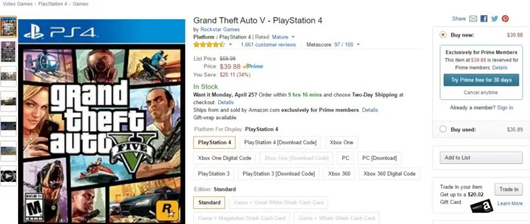 GTA 5 On PS4 Is Exclusive To Prime Members On Amazon - GTA BOOM
