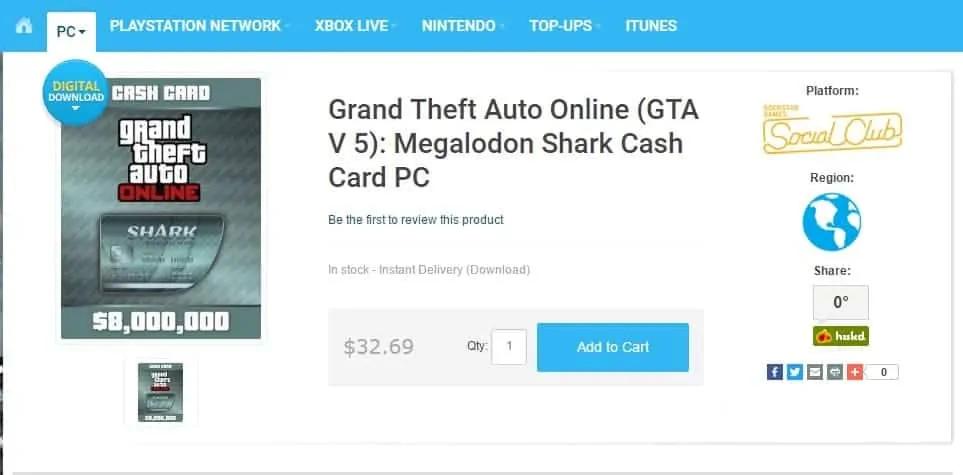 Gta Online Megalodon Shark Card Sale On Gta Boom