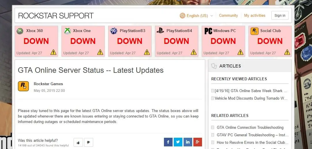 Gta online services down | GTA 5 down? Current status, problems and
