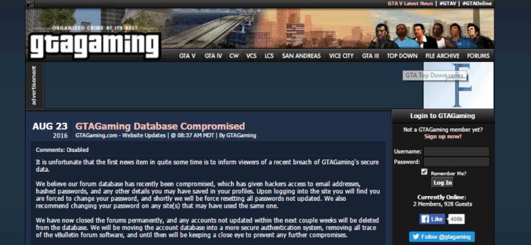 GTA Fansite Hacked, User Data Stolen - GTA BOOM