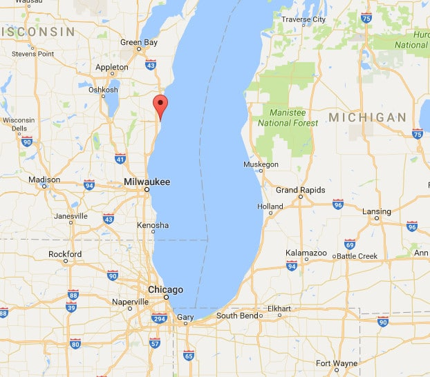 Sheboygan is the red marker. It is so small, that the name disappears when scrolling far enough out to see the whole region.
