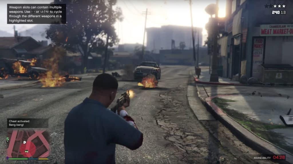 Using the explosive ammo cheat code