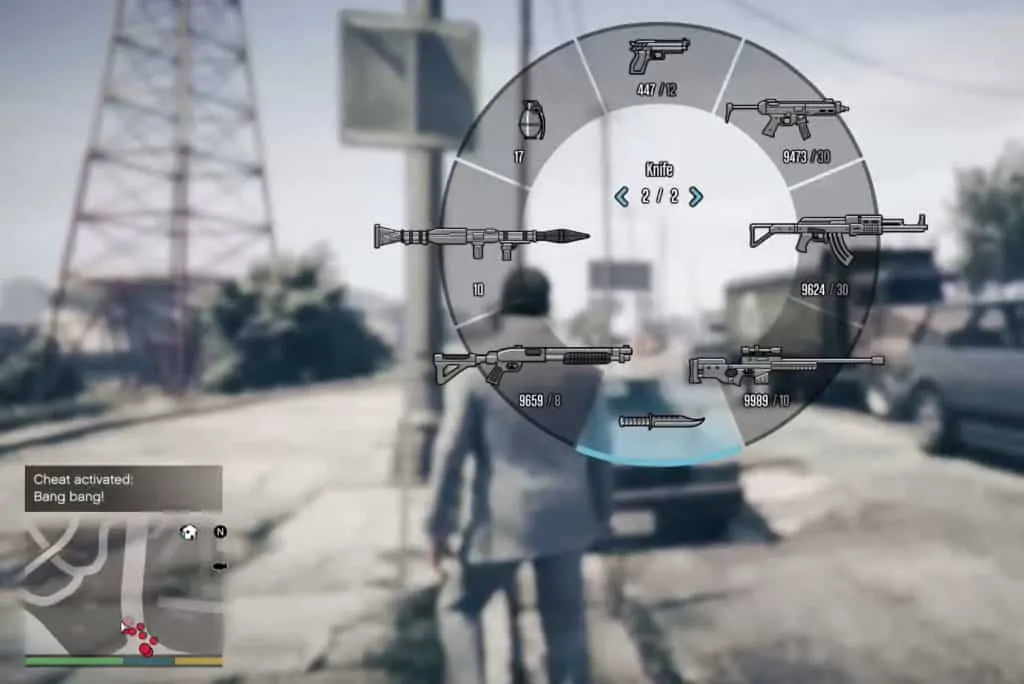 The weapon wheel after activating explosive ammo rounds